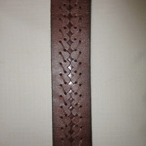Fossil Accessories - Fossil Brown Braided Leather Brass Buckle Belt 32